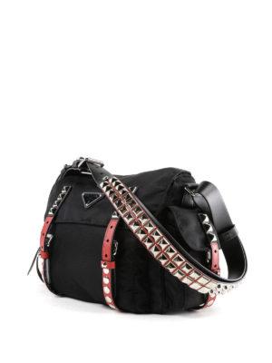 PRADA: borse a spalla online - Borsa a spalla in nylon con dettagli rossi