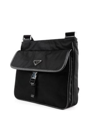 PRADA: borse a spalla online - Messenger in nylon nero con Saffiano