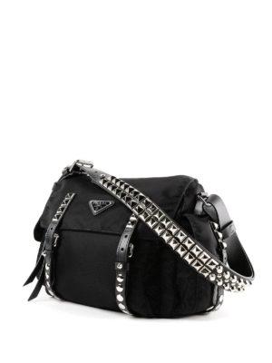 PRADA: borse a spalla online - Borsa a spalla in nylon con borchie