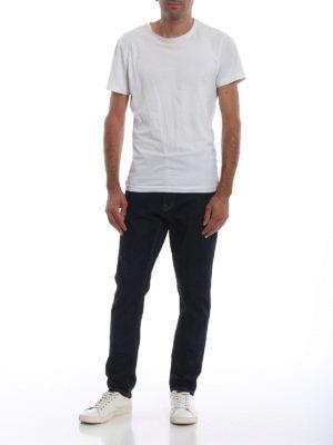 a sigaretta - Jeans cinque tasche con cuciture a contrasto