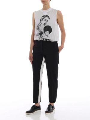 PRADA: Pantaloni sartoriali online - Pantaloni in lana leggera con bande