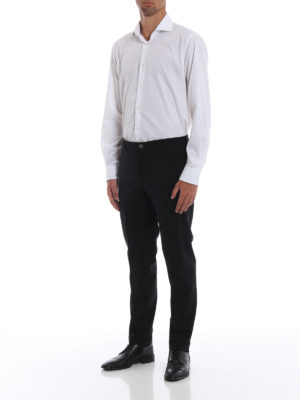 PRADA: Pantaloni sartoriali online - Pantaloni in lana stretch con risvolti