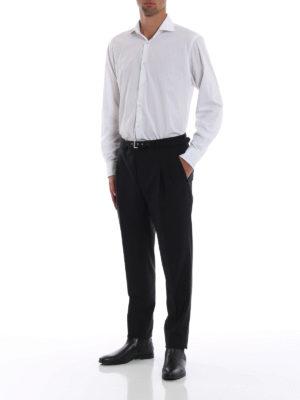 PRADA: Pantaloni sartoriali online - Pantaloni in tela con inserti intrecciati