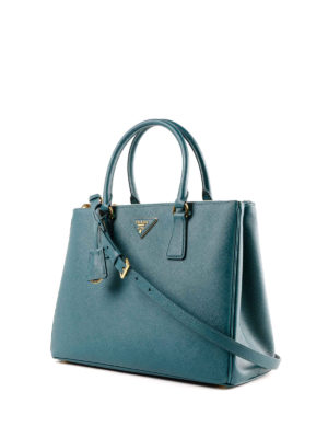 PRADA: shopper online - Shopper Galleria in pelle Saffiano ottanio