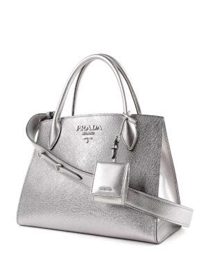 PRADA: shopper online - Tote Monochrome in pelle argento