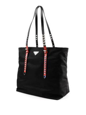 PRADA: shopper online - Shopper New Vela nera e rossa