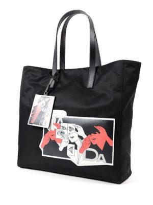 PRADA: shopper online - Borsa con patch Comics in saffiano