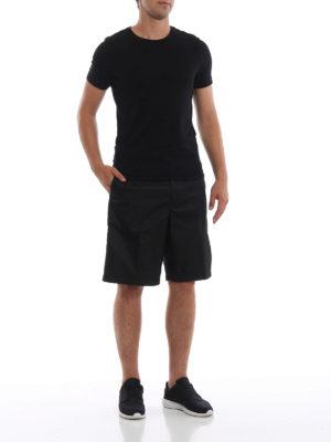 PRADA: pantaloni shorts online - Bermuda neri in tecno gabardine