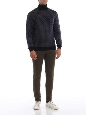 PRADA: maglia a collo alto e polo online - Dolcevita in lana a rombi con bordi neri