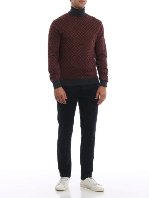 PRADA: maglia a collo alto e polo online - Dolcevita in lana a rombi con bordi grigi