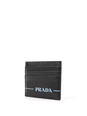 PRADA: portafogli online - Porta carte in pelle con logo serigrafato