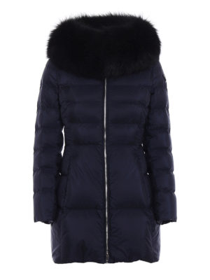 Prada: padded coats - Fox fur trimmed blue padded coat