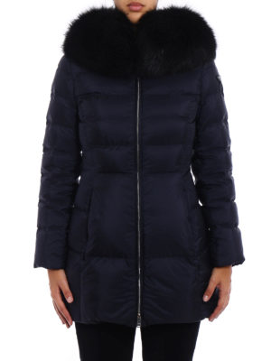 Prada: padded coats online - Fox fur trimmed blue padded coat