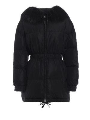 PRADA: giacche imbottite - Piumino con pelliccia e vita elasticizzata