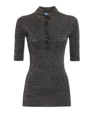 Prada: polo shirts - Lurex ribbed polo
