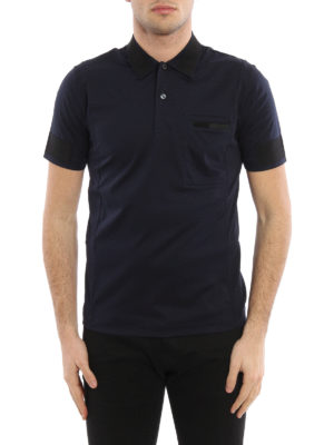 Prada: polo shirts online - Grosgrain detailed polo shirt