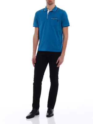 Prada: polo shirts online - Patch pocket turquoise pique polo