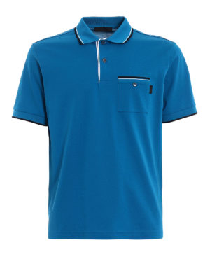 Prada: polo shirts - Patch pocket turquoise pique polo