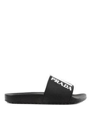 PRADA: sandali - Ciabattine nere con logo
