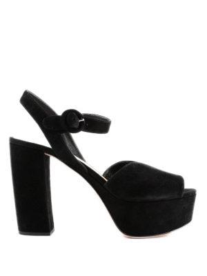 PRADA: sandali - Sandali platform in camoscio nero