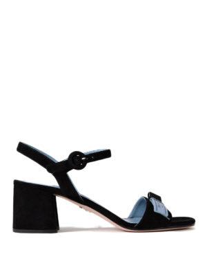 Prada: sandals - Black suede slingbacks
