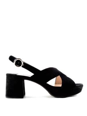Prada: sandals - Block heel detail suede sandals
