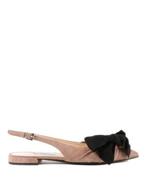 PRADA: sandali - Slingback in camoscio con fiocco