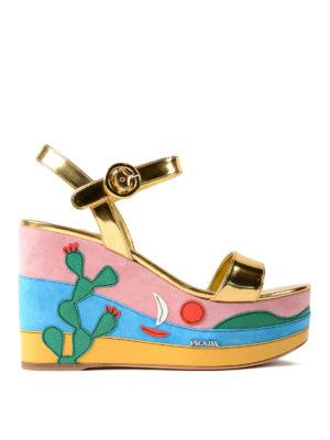 Prada: sandals - Colour block wedge leather sandals