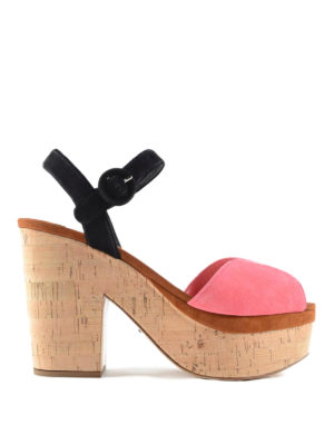 Prada: sandals - Cork heel suede sandals