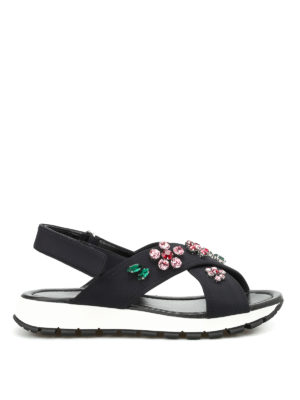 Prada: sandals - Embellished neoprene sandals
