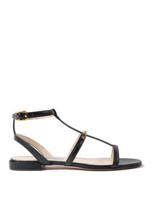 Prada: sandals - Flat saffiano leather sandal