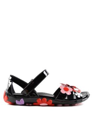 Prada: sandals - Flower detail leather sandals