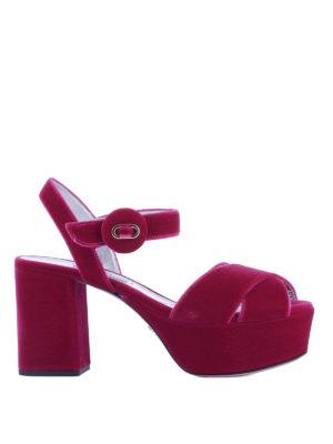 Prada: sandals - Fuchsia velvet platform sandals