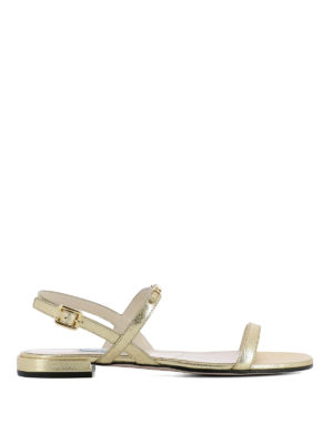 Prada: sandals - Golden logo saffiano flat sandals