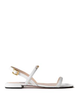 Prada: sandals - Golden logo white saffiano sandals