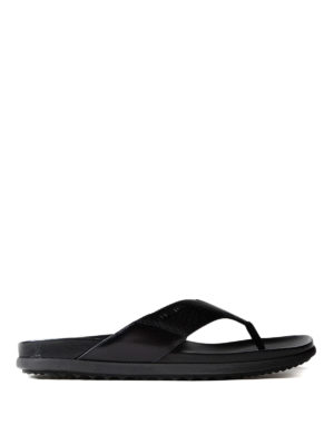 Prada: sandals - Leather and fabric thong sandals