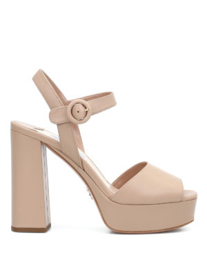 Prada: sandals - Leather platform sandals