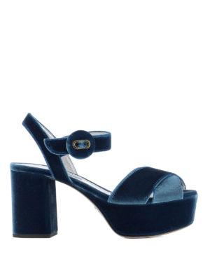 Prada: sandals - Light blue velvet platform sandals