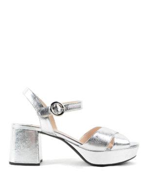 Prada: sandals - Metallic leather sandals