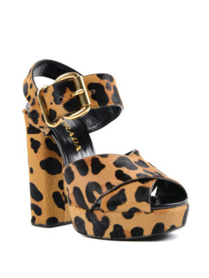 Prada: sandals online - Animal print calf hair sandals
