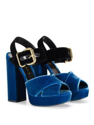 Prada: sandals online - Bicolour velvet sandals