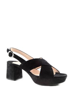 Prada: sandals online - Block heel detail suede sandals