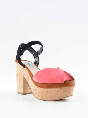 Prada: sandals online - Cork heel suede sandals