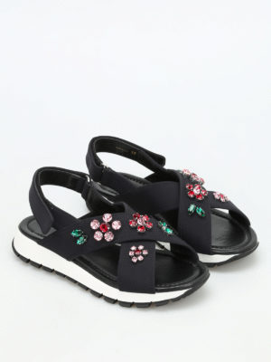 Prada: sandals online - Embellished neoprene sandals
