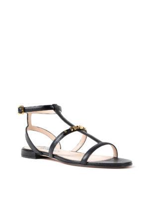 Prada: sandals online - Flat saffiano leather sandal