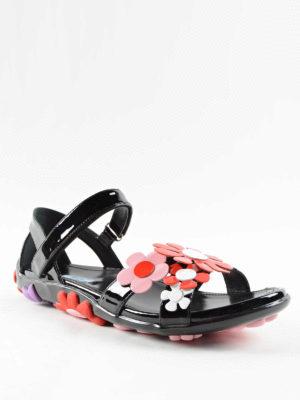Prada: sandals online - Flower detail leather sandals