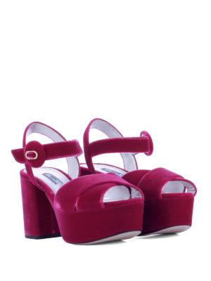 Prada: sandals online - Fuchsia velvet platform sandals