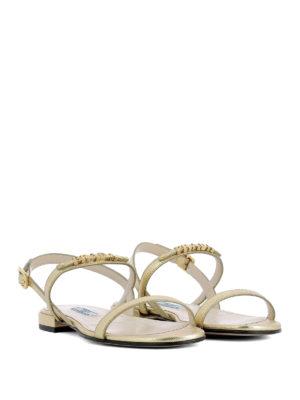 Prada: sandals online - Golden logo saffiano flat sandals