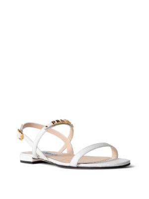 Prada: sandals online - Golden logo white saffiano sandals