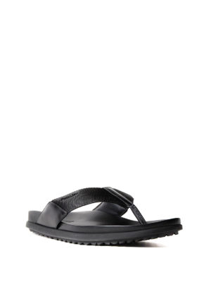Prada: sandals online - Leather and fabric thong sandals